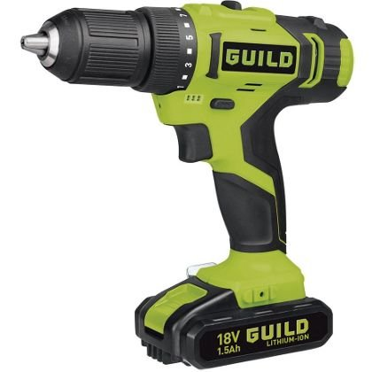 guild 18v cordless drill driver with 2 batteries and 2. Black Bedroom Furniture Sets. Home Design Ideas