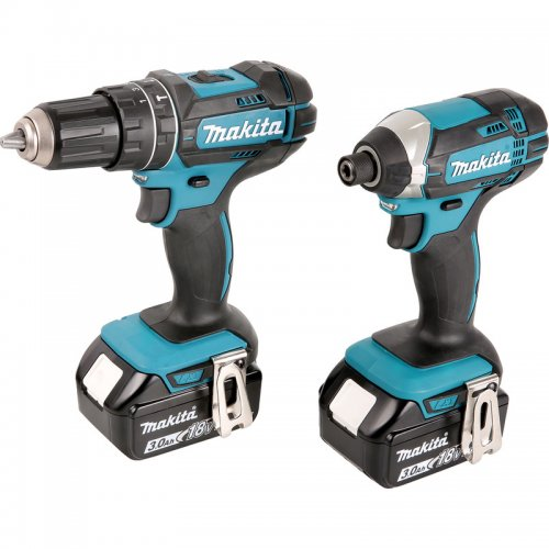 makita dlx2131jx1 18v li ion twin pack combi drill impact driver 2 x 3 0ah. Black Bedroom Furniture Sets. Home Design Ideas