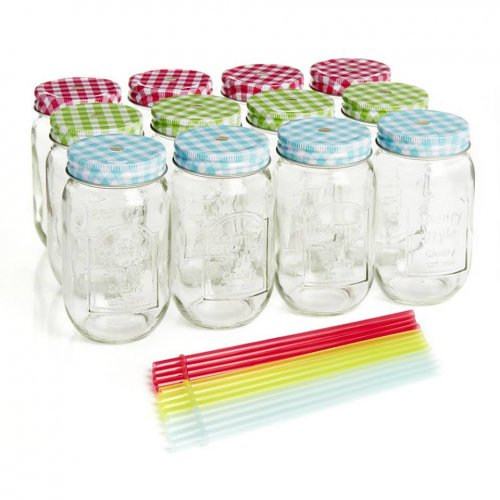 12 glass drinking jars mason jars with re usable straws. Black Bedroom Furniture Sets. Home Design Ideas