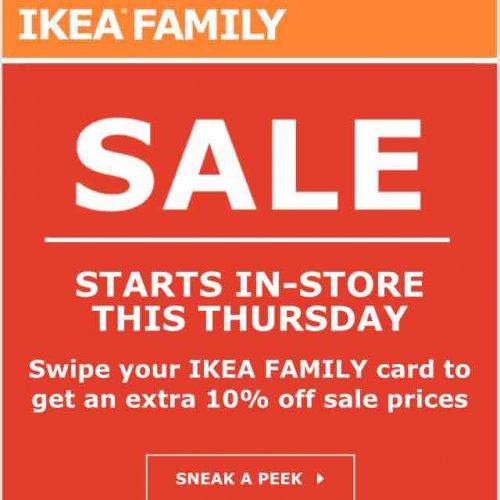 ikea family sale starts thursday extra 10 off sale. Black Bedroom Furniture Sets. Home Design Ideas