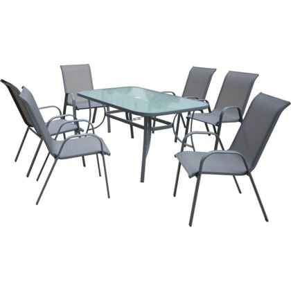 Sling back garden furniture set 7 piece 119 homebase for Garden furniture set deals