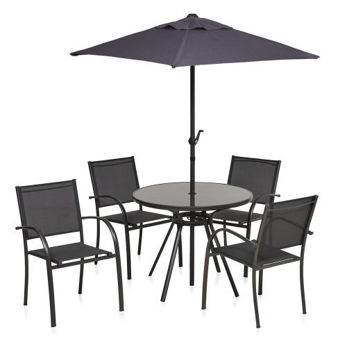 Garden Table And Chairs Set Wilko: Stacking Textilene Patio Set 4 Seats, Table & Parasol, £70