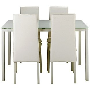 hygena lido glass dining table 4 white chairs now. Black Bedroom Furniture Sets. Home Design Ideas