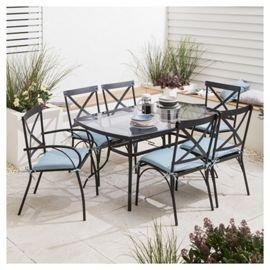 Glass 7 Piece Garden Table Set Reduced Further With Code 115 Tesco Direc