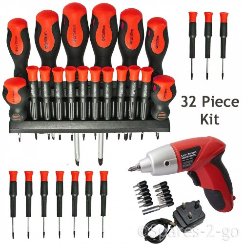 32 pc screwdriver set with phillips pozi torx slotted magnetic tips cordless. Black Bedroom Furniture Sets. Home Design Ideas