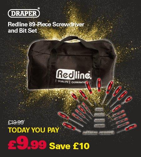 draper redline 89 piece screwdriver and bit set with bag now robert dyas free c c. Black Bedroom Furniture Sets. Home Design Ideas