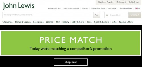 John lewis price match policy