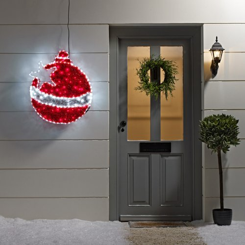 Outdoor christmas bauble tinsel led rope light silhouette for Outside christmas baubles