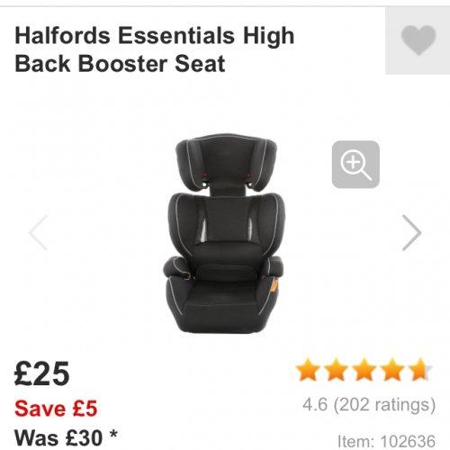 Halfords Child S Booster Seat 163 25 Halfords Hotukdeals
