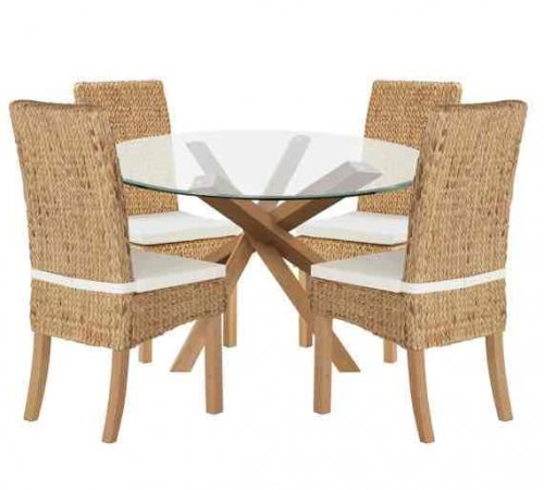 OAK amp Glass Dining Table and 4 Rattan Chairs Was 16359999  : 26050571 from www.hotukdeals.com size 500 x 450 jpeg 31kB