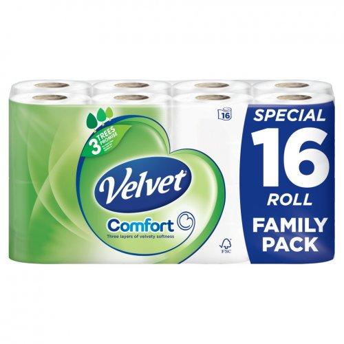 velvet comfort toilet roll 16 pack 5 asda tesco. Black Bedroom Furniture Sets. Home Design Ideas