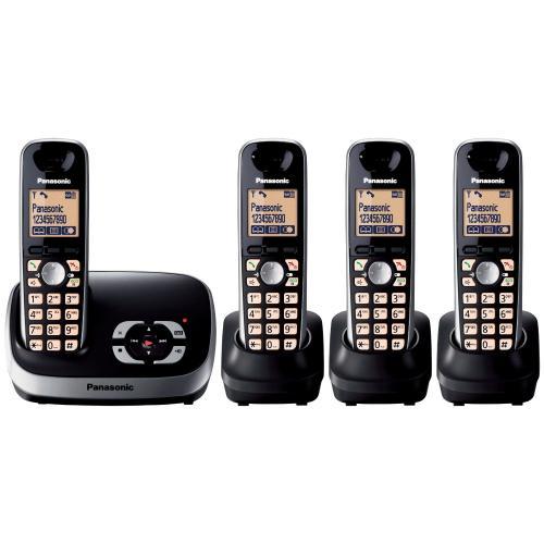 panasonic kx tg6524eb dect quad digital cordless phone set with answer machine black. Black Bedroom Furniture Sets. Home Design Ideas