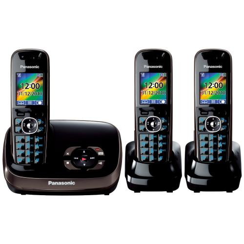 panasonic kx tg8523eb dect trio digital cordless phone set with answer machine black. Black Bedroom Furniture Sets. Home Design Ideas