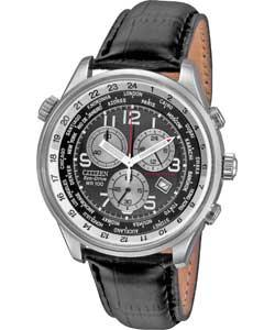 citizen s eco drive black leather chronograph only 163 89