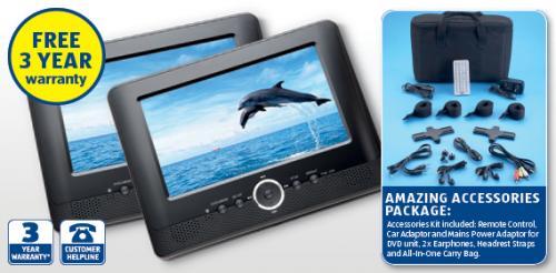 portable twin screen dvd player aldi hotukdeals. Black Bedroom Furniture Sets. Home Design Ideas