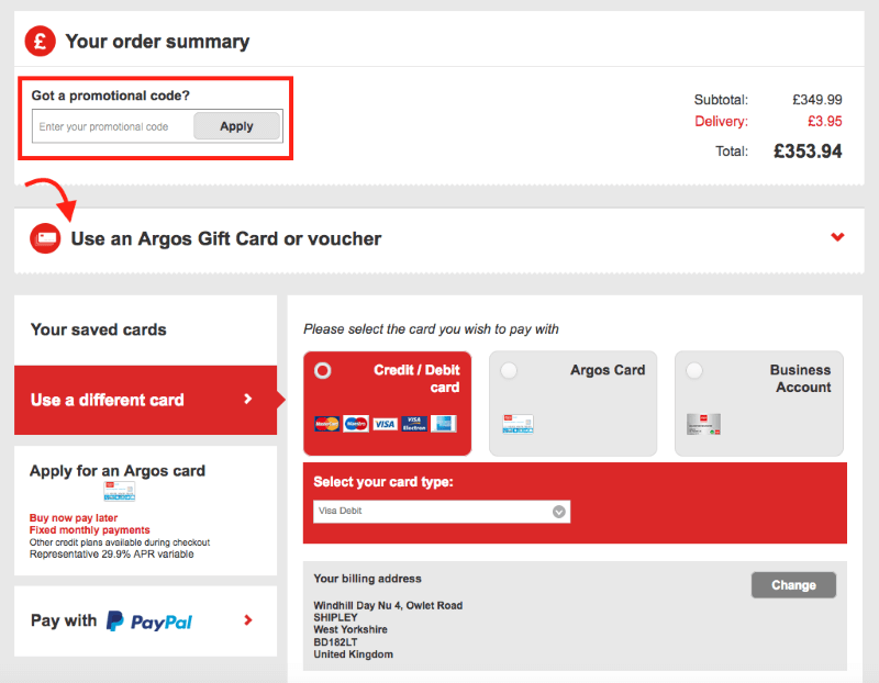 Argos promotional code redemption
