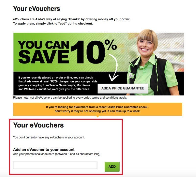 asda voucher discount code redemption