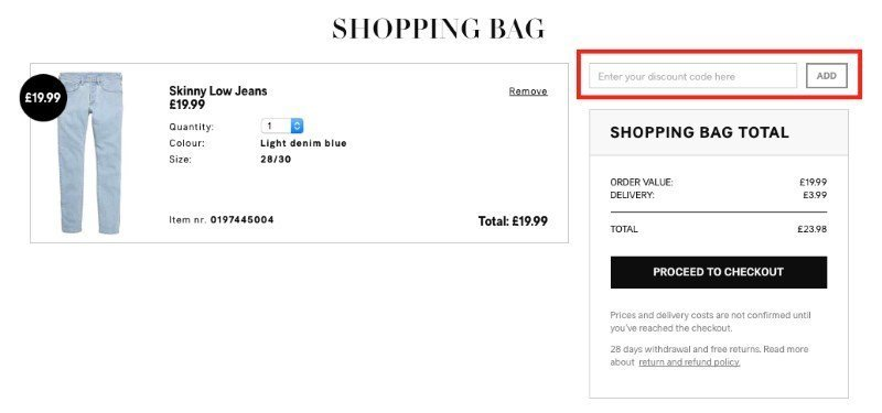 h&m discount voucher code redemption