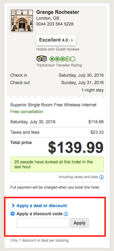 Hotels.com coupon code 2018