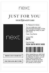 Next gift card voucher