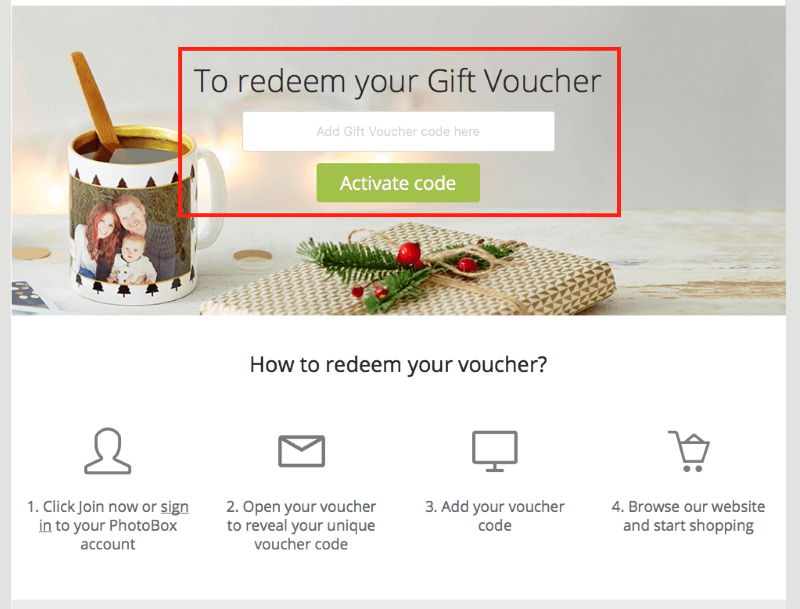 Photobox gift voucher redemption card