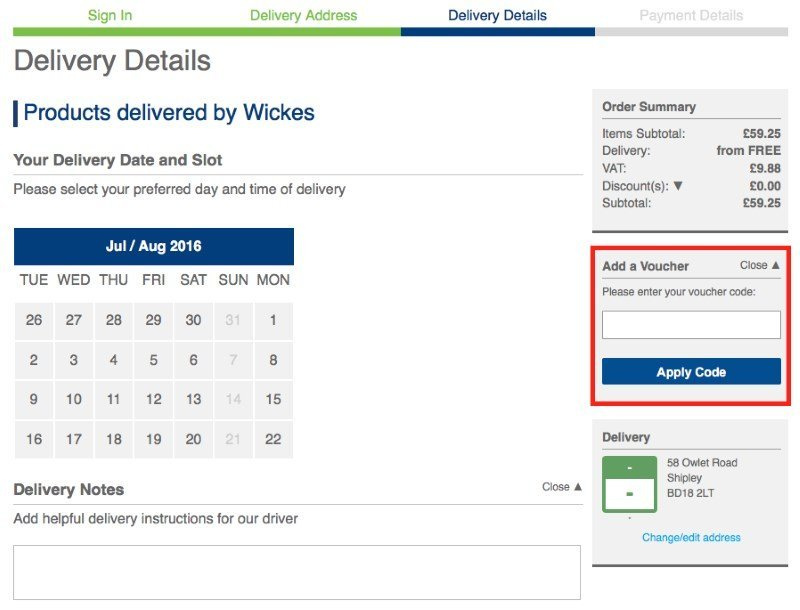 wickes voucher code redemption