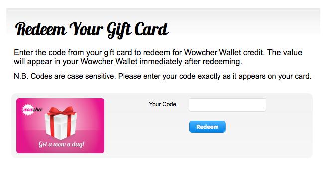 wowcher redeem gift card