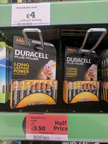 Duracell AAA batteries 8 pack half price - £3.50